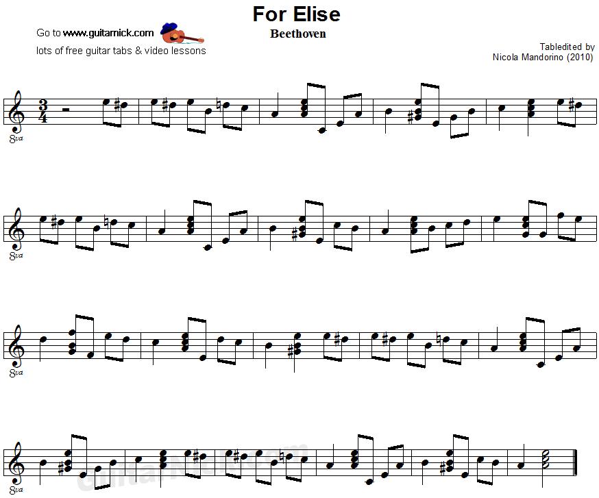for-elise-easy-guitar-sheet-music